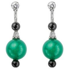 Pair of Art Deco Chrysoprase, Onyx and Diamond Earrings