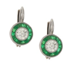 Pair of Art Deco Style Diamond and Emerald Target Earrings