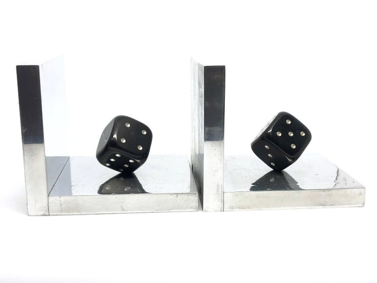 Pair of Art Deco Dice Bookends Black and Chrome Vintage German For Sale 5