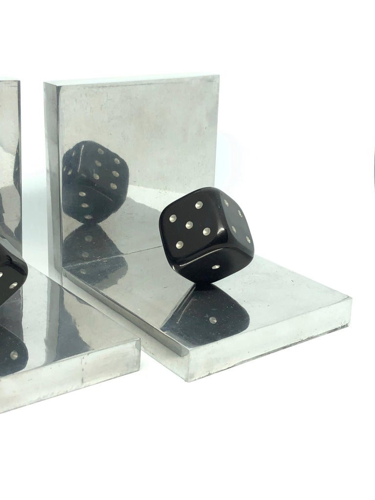 Mid-Century Modern Pair of Art Deco Dice Bookends Black and Chrome Vintage German For Sale