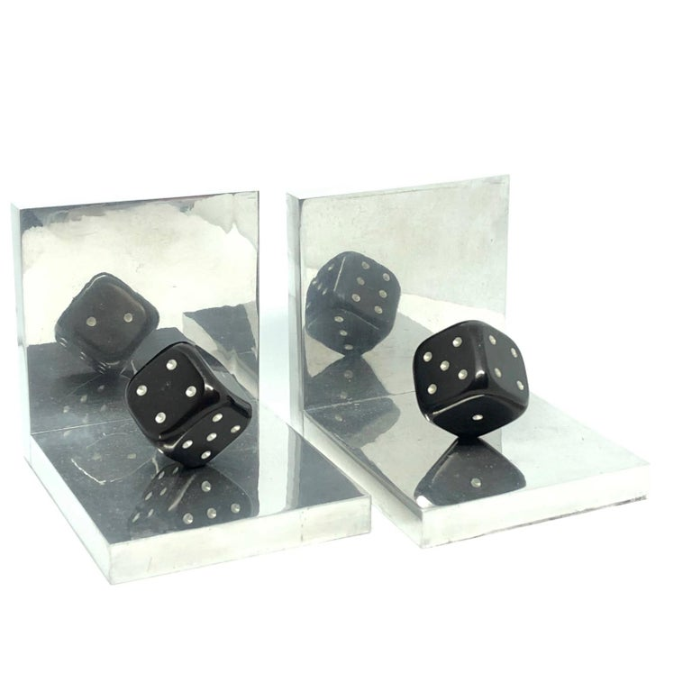 Pair of Art Deco Dice Bookends Black and Chrome Vintage German In Good Condition For Sale In Nürnberg, DE