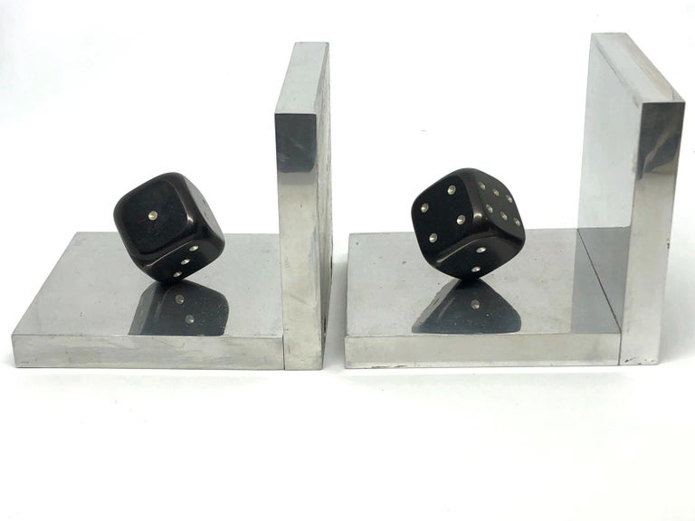 Mid-20th Century Pair of Art Deco Dice Bookends Black and Chrome Vintage German For Sale