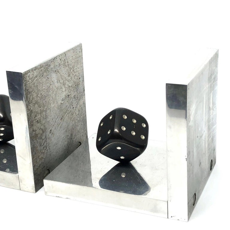 Metal Pair of Art Deco Dice Bookends Black and Chrome Vintage German For Sale