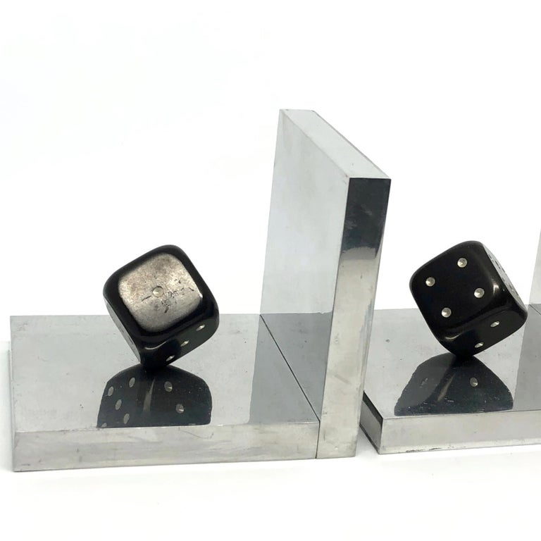 Pair of Art Deco Dice Bookends Black and Chrome Vintage German For Sale 1