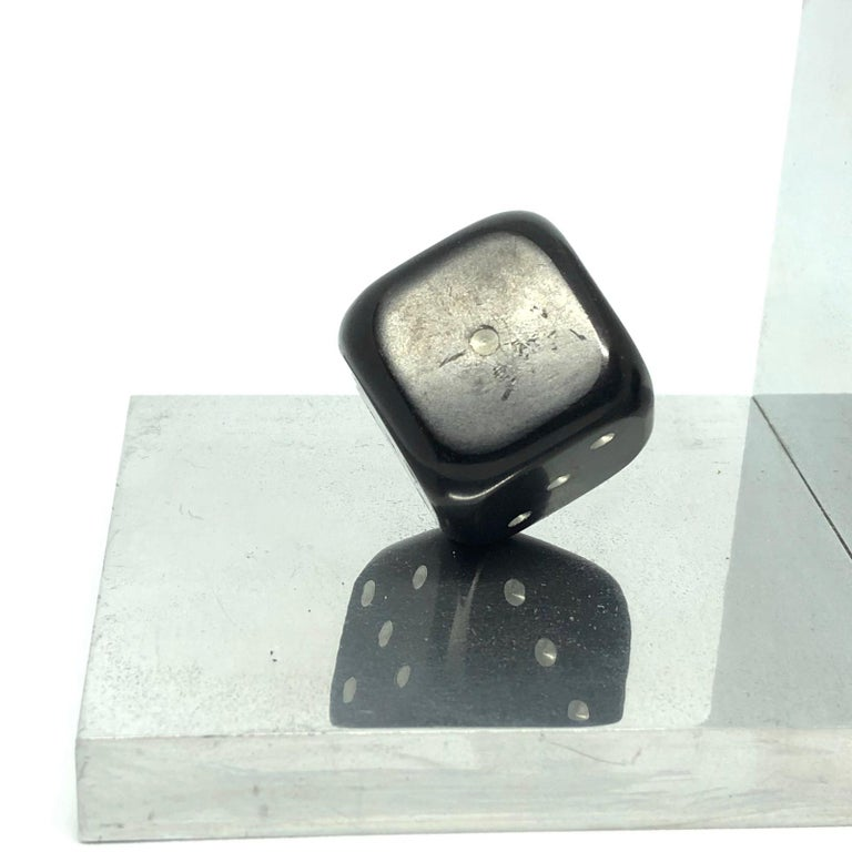 Pair of Art Deco Dice Bookends Black and Chrome Vintage German For Sale 2