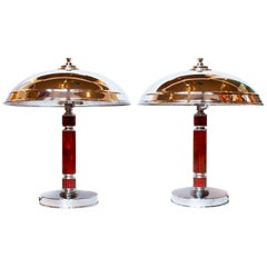 Pair of Art Deco Dome Lamps with Chrome Domed Shades with Amber Bakelite Stem