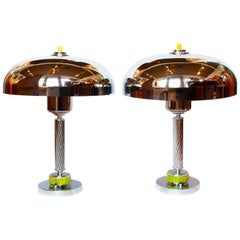 Pair of Art Deco Dome Lamps with Chrome Domed Shades with Chrome Beveled Stem