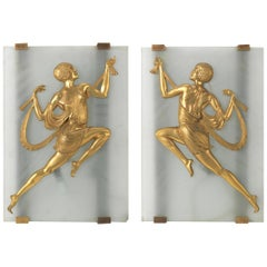 Pair of Art Deco Frosted Glass Wall Lights by Affortunato Gory, circa 1925