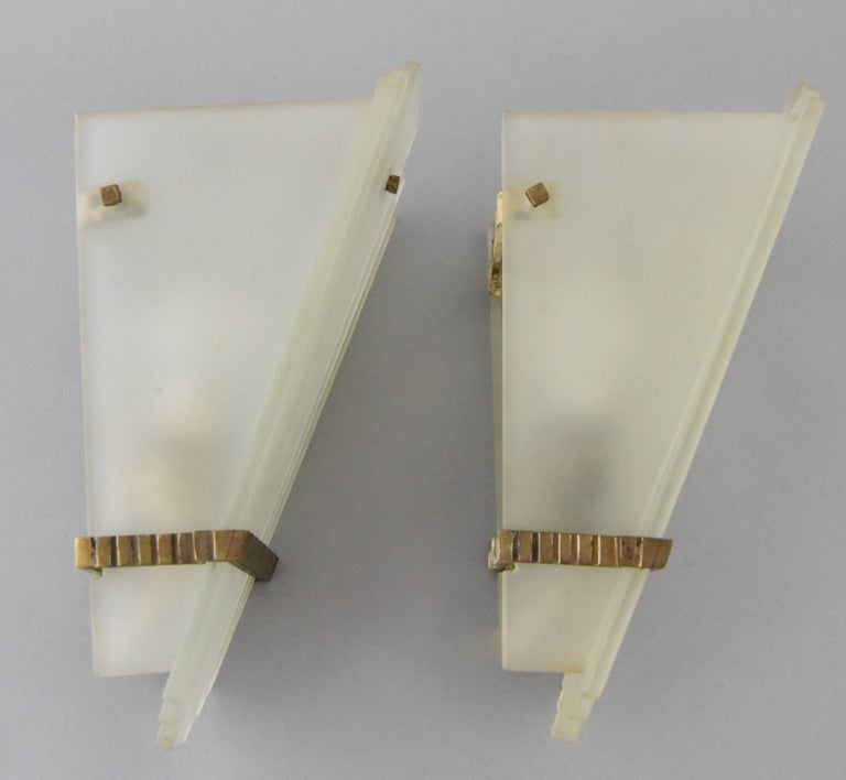 Pair of Art Deco Glass and Bronze Wall Lights or Sconces, France ...