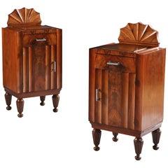 Pair of Art Deco Italian Bedside Cabinets or Cupboards in Walnut