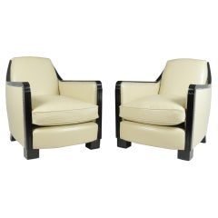 Pair of Art Deco Leather Armchairs