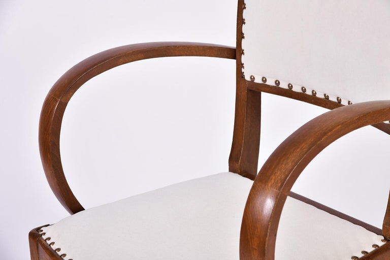 Pair of Art Deco Oak Chairs For Sale 5