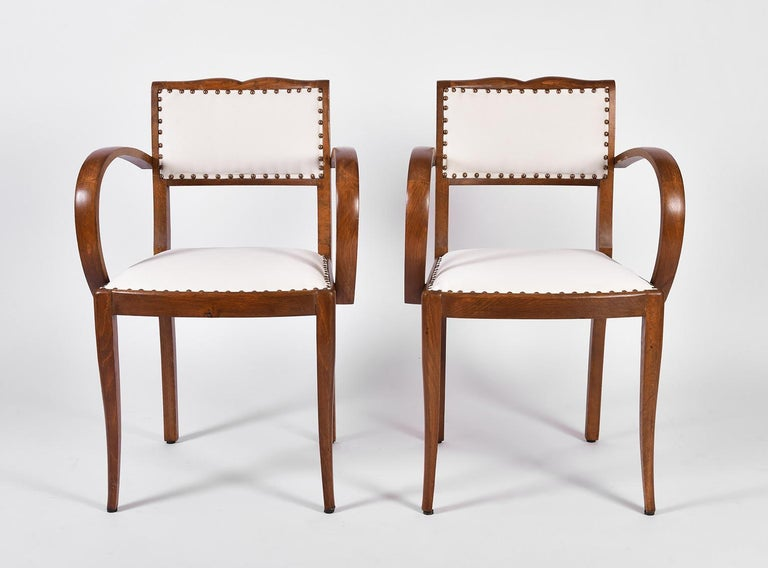 French Pair of Art Deco Oak Chairs For Sale