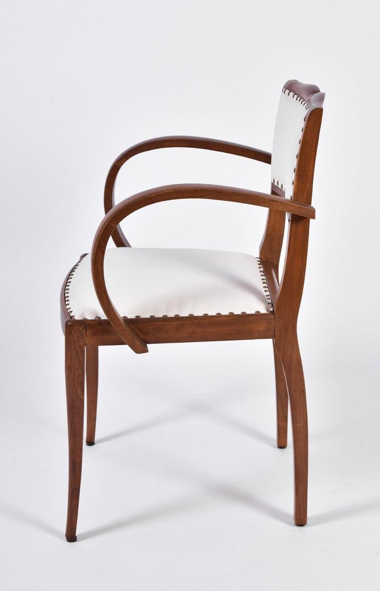 Velvet Pair of Art Deco Oak Chairs For Sale