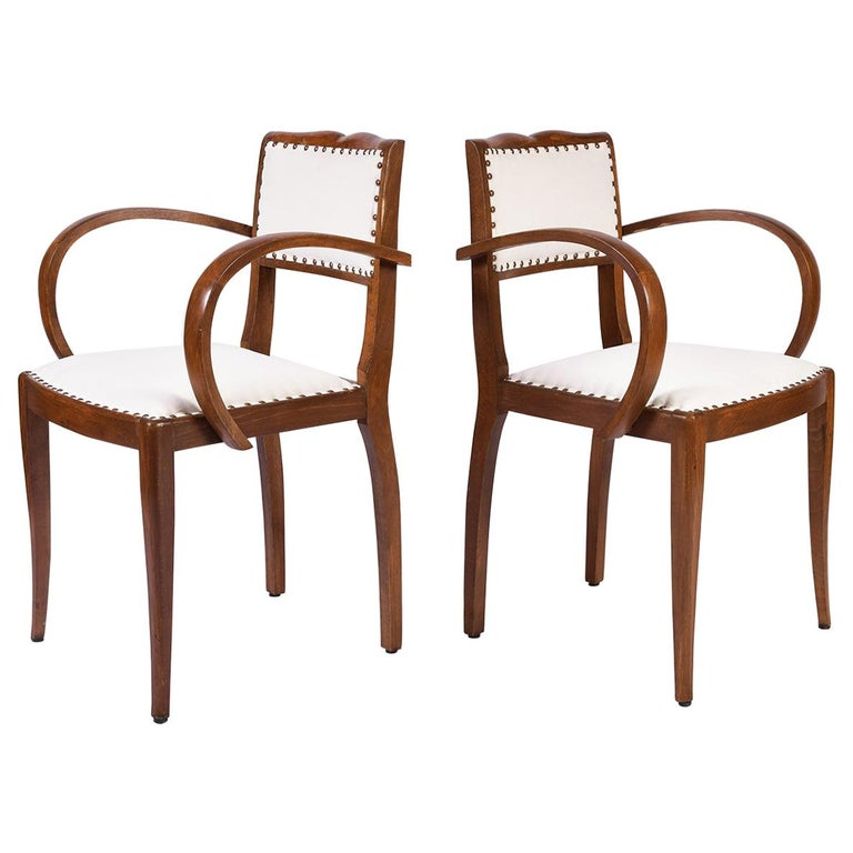 Pair of Art Deco Oak Chairs For Sale