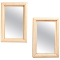 Pair of 20th Century Art Deco Parchment Mirrors