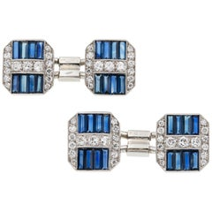 Pair of Art Deco Sapphire and Diamond Cufflinks