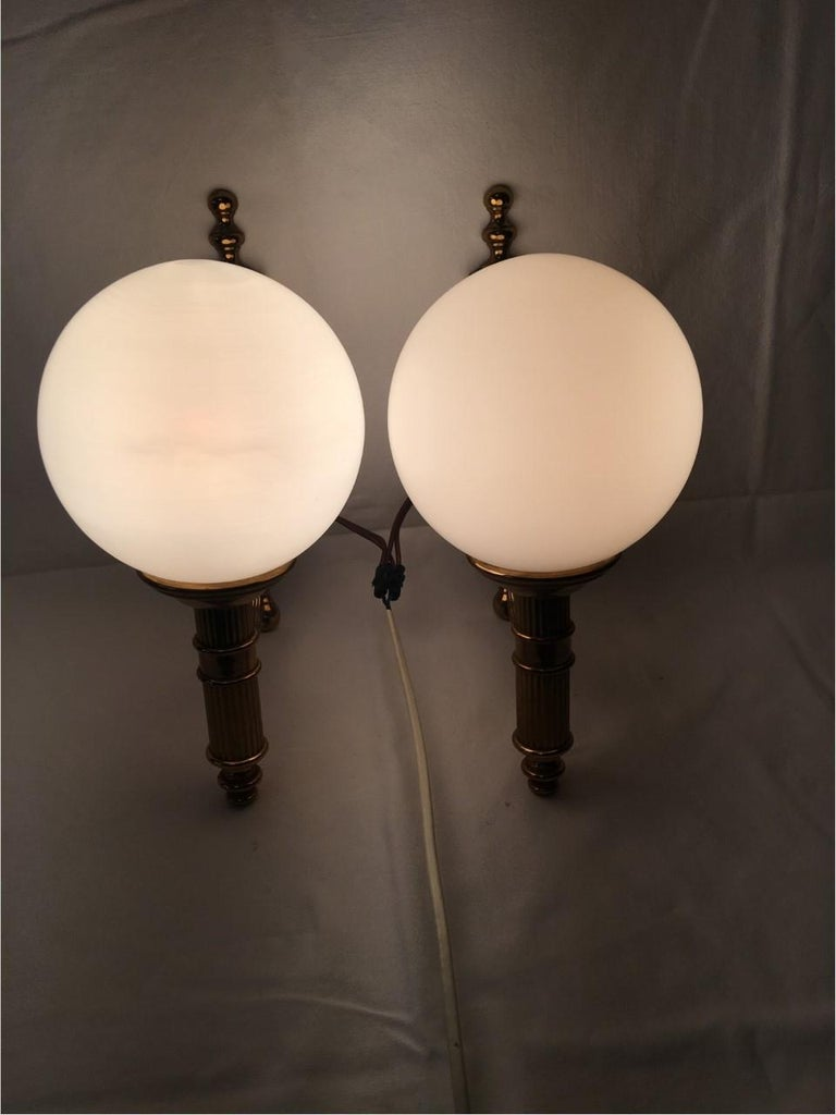 Pair of Art Deco Style Brass and Milk Glass Sconces from Germany In Good Condition For Sale In Frisco, TX