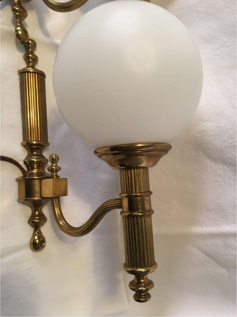 Pair of Art Deco Style Brass and Milk Glass Sconces from Germany For Sale 2