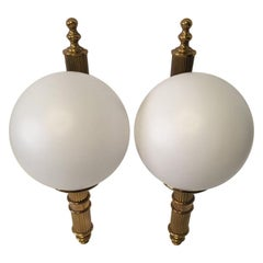 Pair of Art Deco Style Brass and Milk Glass Sconces from Germany