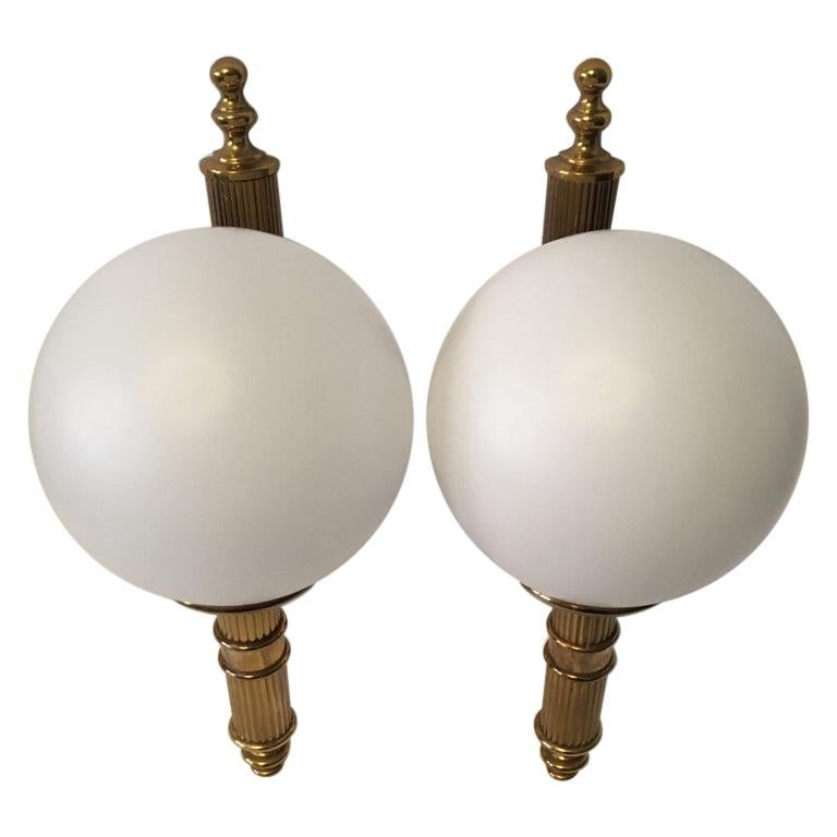 Pair of Art Deco Style Brass and Milk Glass Sconces from Germany For Sale