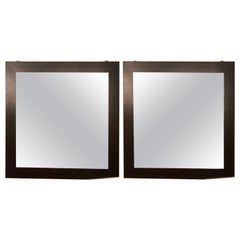 Pair of Art Deco Style Faux Macassar Square Console or Wall Mirrors