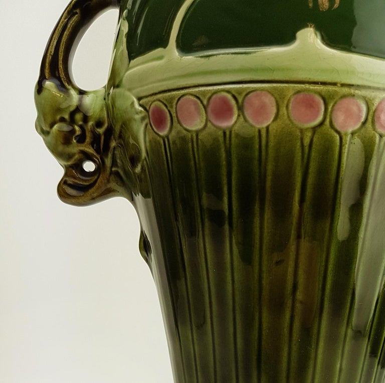 Pair of Art Nouveau Twin Handled Majolica Vases, 1920 For Sale 6