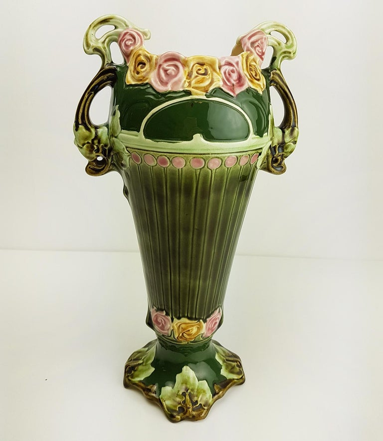 Pair of Art Nouveau Twin Handled Majolica Vases, 1920 For Sale 8
