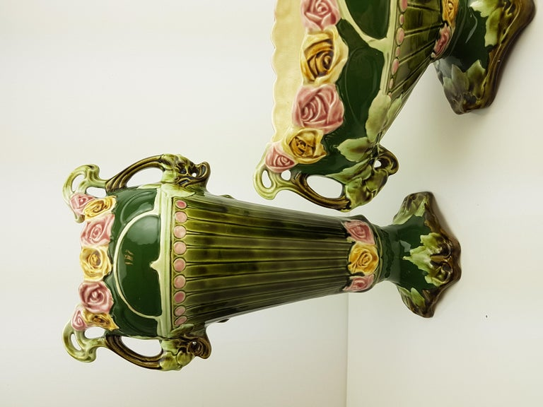 Pair of Art Nouveau Twin Handled Majolica Vases, 1920 For Sale 9