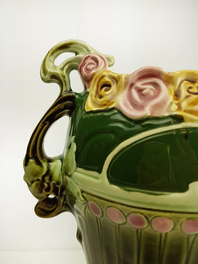 Italian Pair of Art Nouveau Twin Handled Majolica Vases, 1920 For Sale