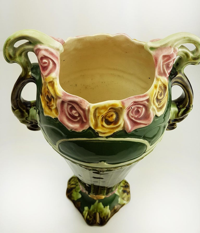 Early 20th Century Pair of Art Nouveau Twin Handled Majolica Vases, 1920 For Sale