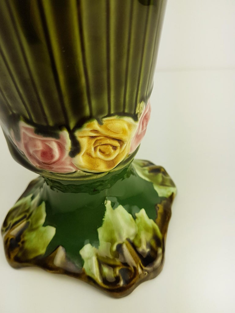 Pair of Art Nouveau Twin Handled Majolica Vases, 1920 For Sale 1