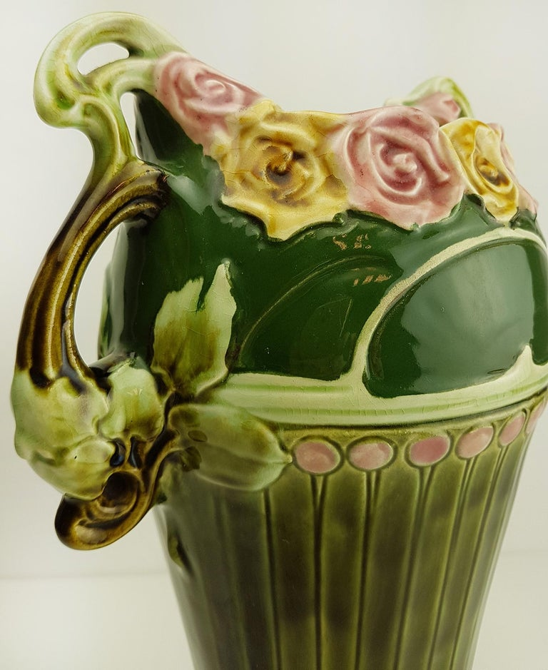 Pair of Art Nouveau Twin Handled Majolica Vases, 1920 For Sale 3