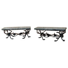 Pair of Art Nouveau Wrought Iron and Marble Garden Benches