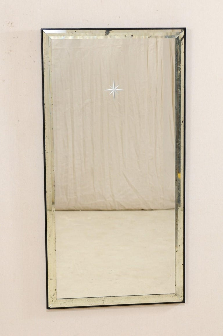 A Pair of Artisan Hand-Crafted Silver Églomisé Starburst Mirrors, 4 Ft Tall  1