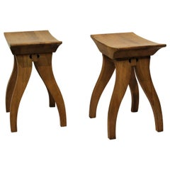 Pair of Arts & Crafts Style Wooden Stools