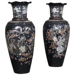 Pair of Asian Composite-Material Vases
