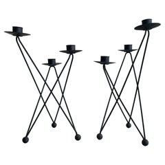 Pair of Atomic Candleholders by Architect Victor Bisharat