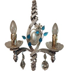 Pair of Baguès-Style Wall-Light Sconces with Murano Glass Crystals