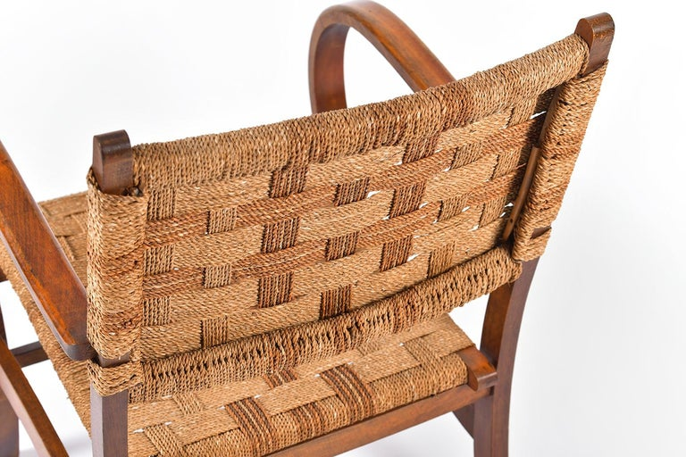 Pair of Bahaus Beech and Rope Armchairs by Erich Dieckmann 4
