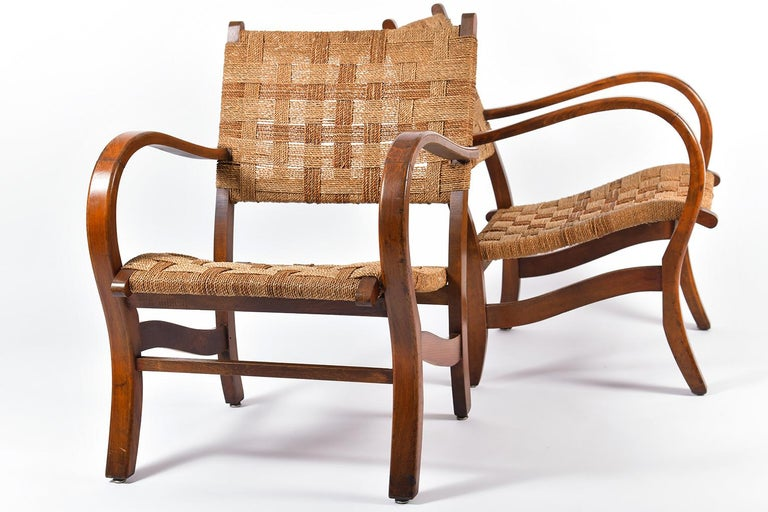 Pair of Bahaus Beech and Rope Armchairs by Erich Dieckmann 5