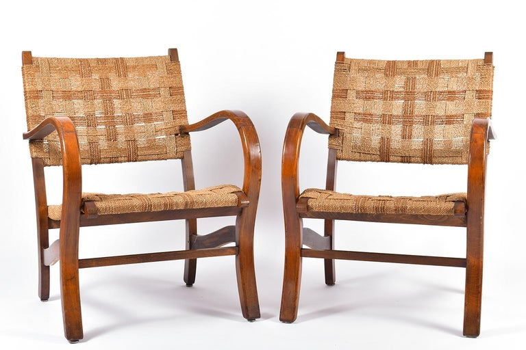 A pair of beechwood and two-tone woven sea grass rope armchairs, by Erich Dieckmann (1896-1944) circa 1925-1930   Erich Dieckmann was one of the most important Bauhaus furniture designers. From 1918 until 1920 Erich Dieckmann studied