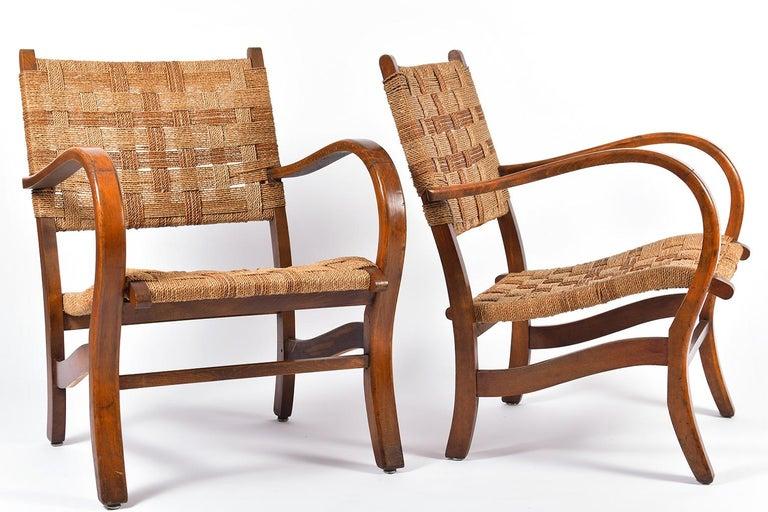 Bauhaus Pair of Bahaus Beech and Rope Armchairs by Erich Dieckmann