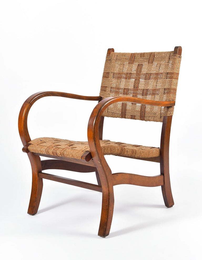 German Pair of Bahaus Beech and Rope Armchairs by Erich Dieckmann