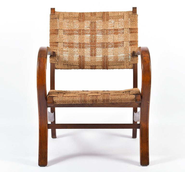 Pair of Bahaus Beech and Rope Armchairs by Erich Dieckmann In Good Condition In London, GB