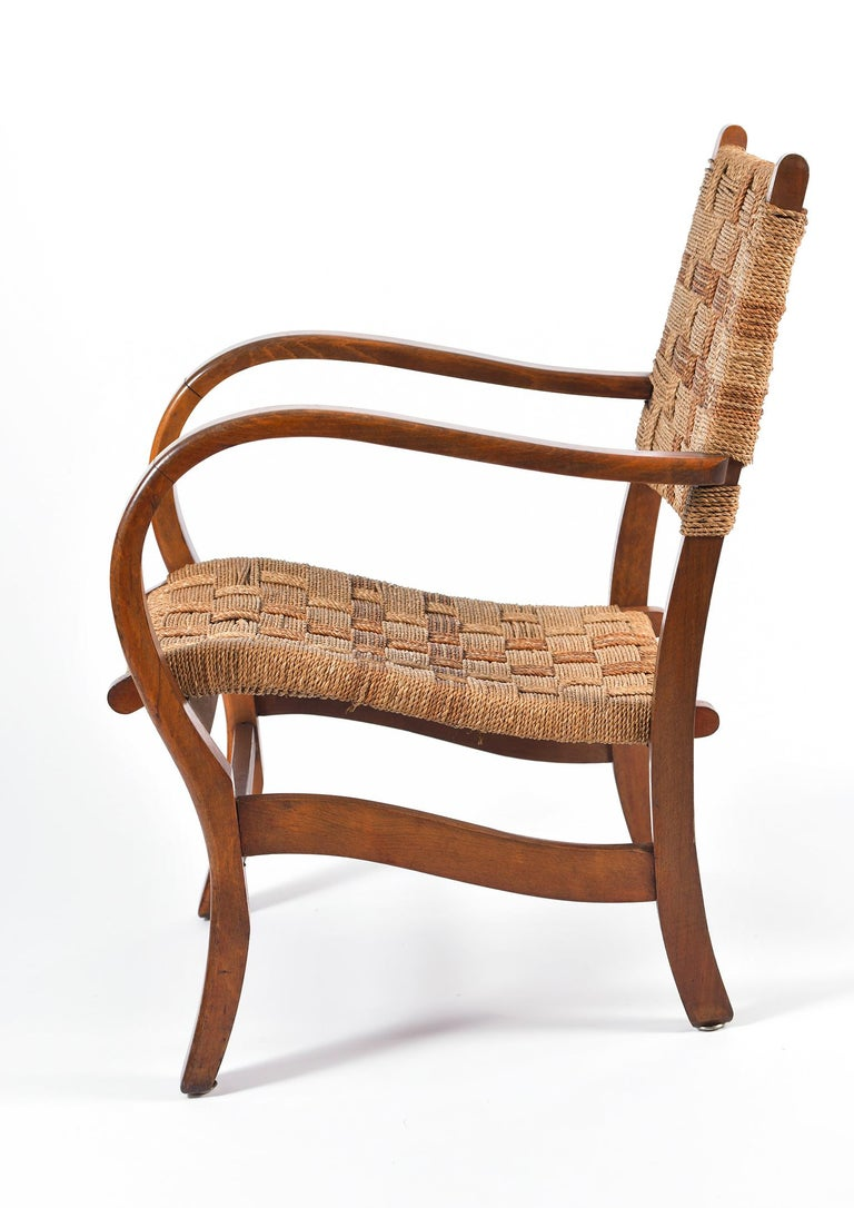 20th Century Pair of Bahaus Beech and Rope Armchairs by Erich Dieckmann