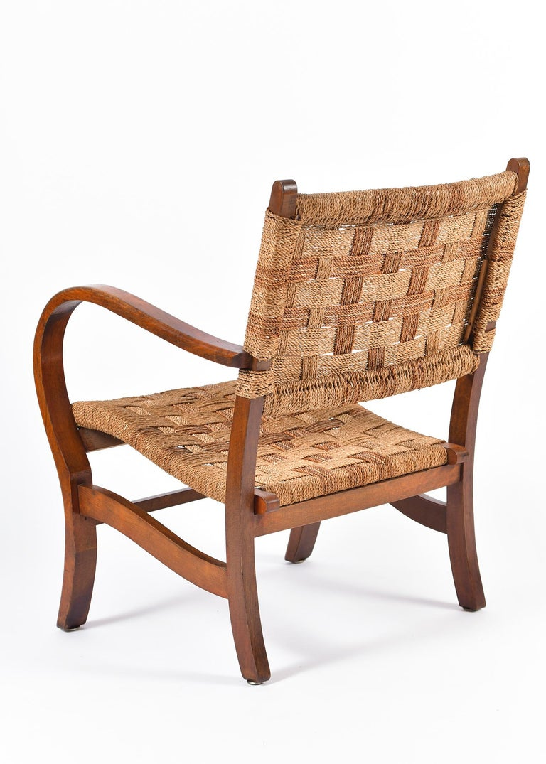 Pair of Bahaus Beech and Rope Armchairs by Erich Dieckmann 1