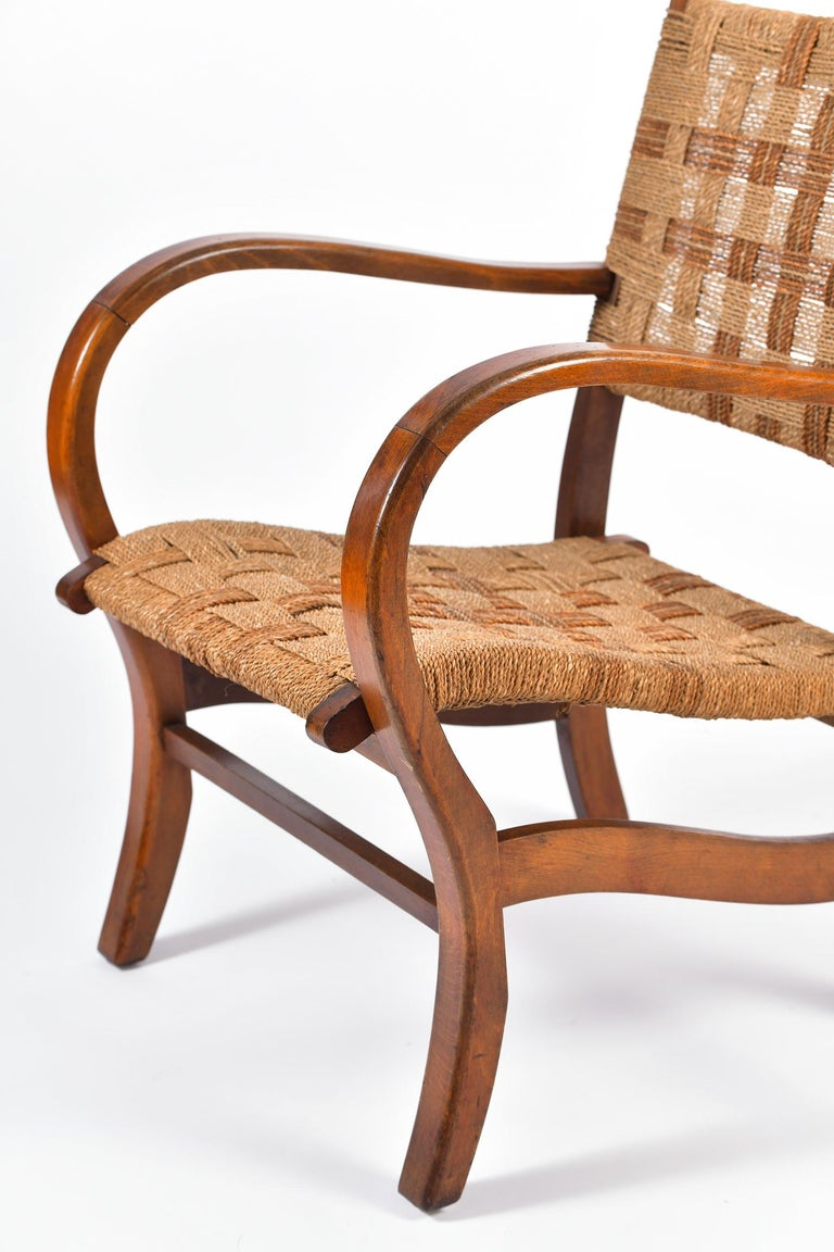 Pair of Bahaus Beech and Rope Armchairs by Erich Dieckmann 2