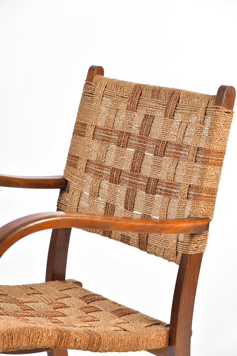Pair of Bahaus Beech and Rope Armchairs by Erich Dieckmann 3
