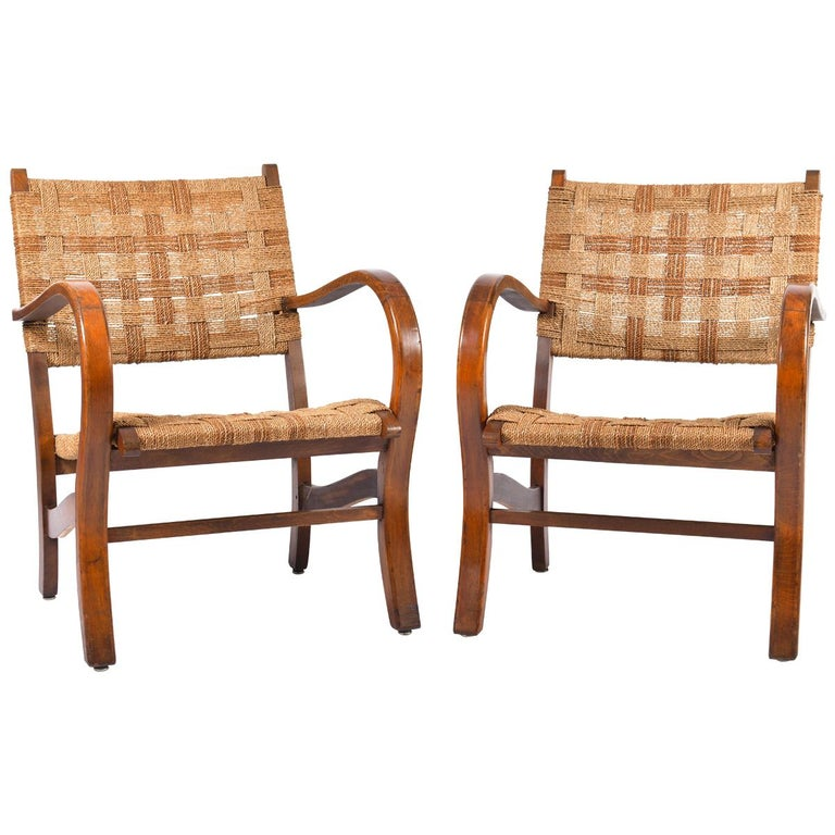 Pair of Bahaus Beech and Rope Armchairs by Erich Dieckmann